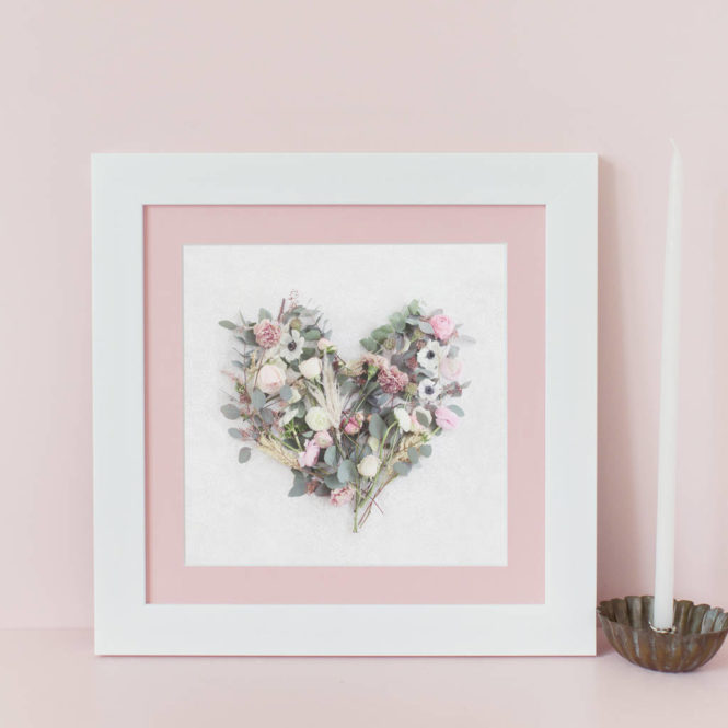 floral love heart framed print wedding valentine birthday gift home decor