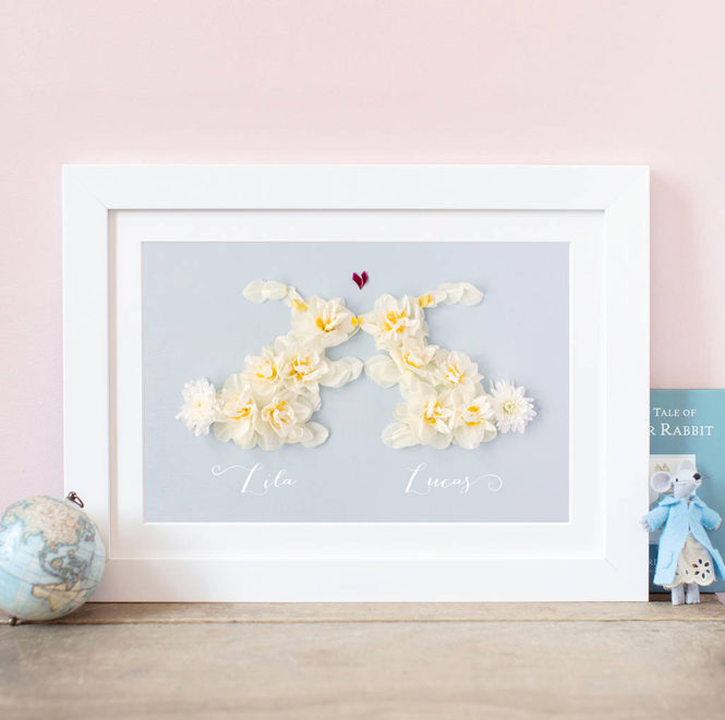bespoke personalised floral love bunny rabbit framed print wedding valentine birthday gift home decor