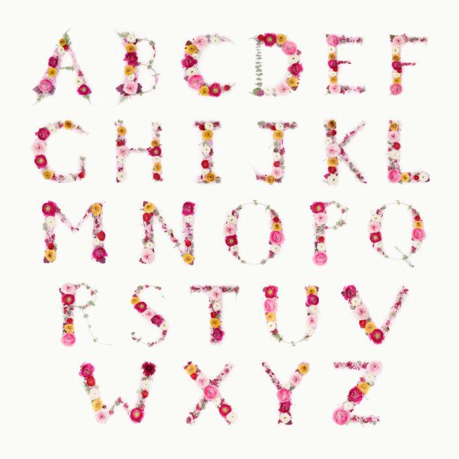 unique floral alphabet