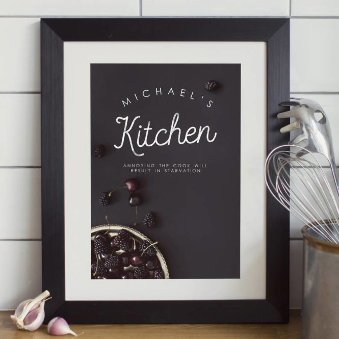 chef print bespoke personalised framed print birthday gift home decor kitchen