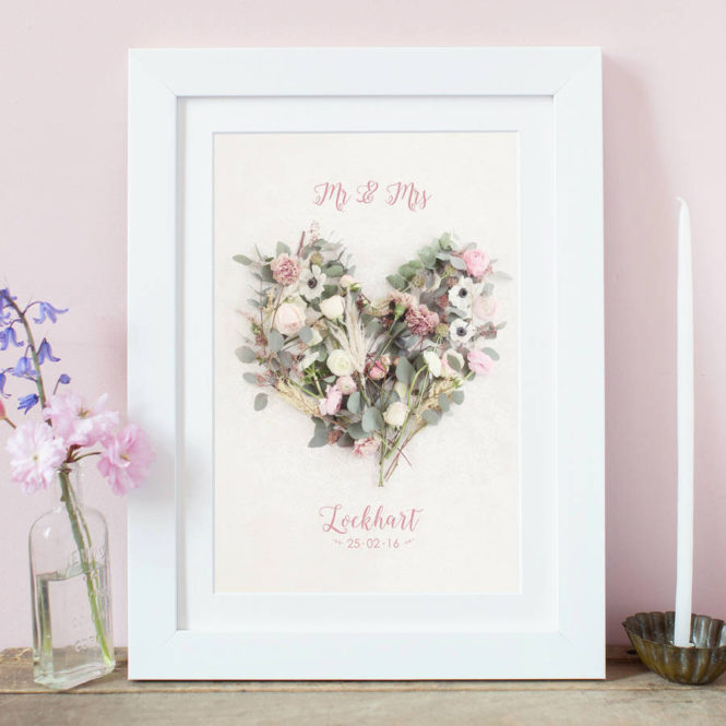 bespoke personalised floral love heart framed print wedding valentine birthday gift home decor