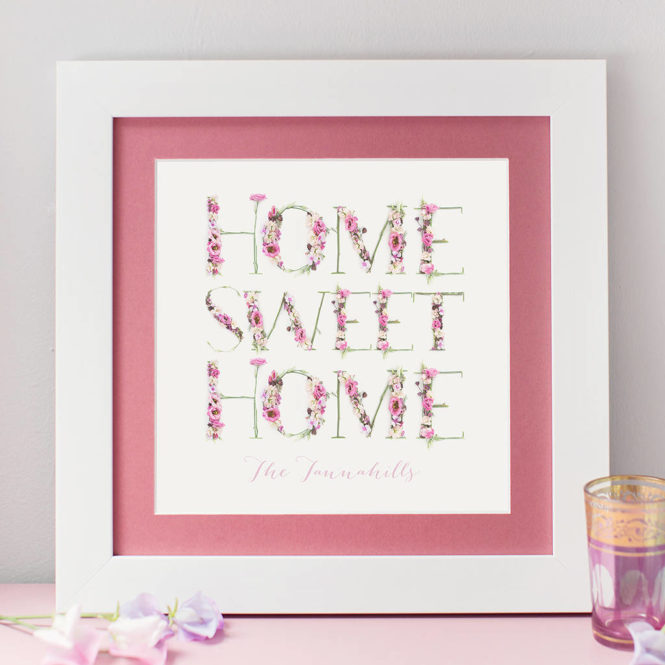 home sweet home personalised framed print birthday gift home decor
