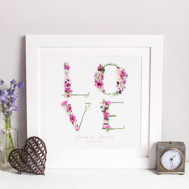 floral love framed print wedding valentine birthday gift home decor