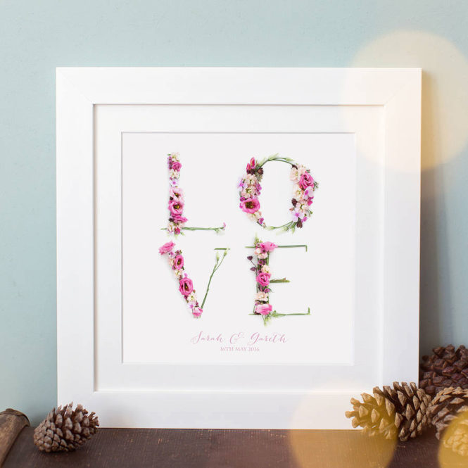 love print floral love framed print wedding valentine birthday gift home decor