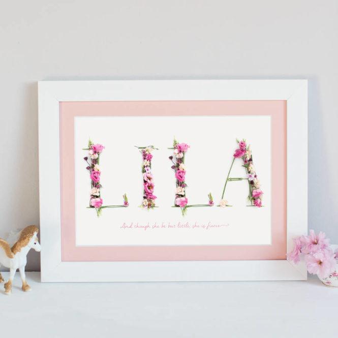 pink name print bespoke personalised framed print birthday gift home decor kids bedroom art