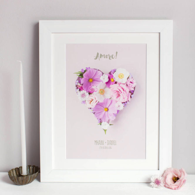 bespoke personalised floral amore love heart framed print wedding valentine birthday gift home decor