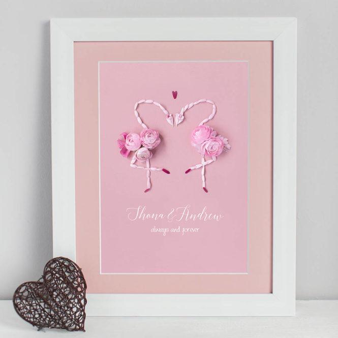bespoke personalised floral love birds flamingos framed print wedding valentine birthday gift home decor