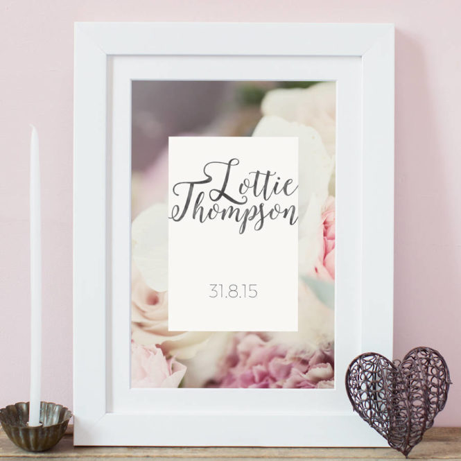 pink name print bespoke personalised framed print birthday gift home decor kids bedroom art