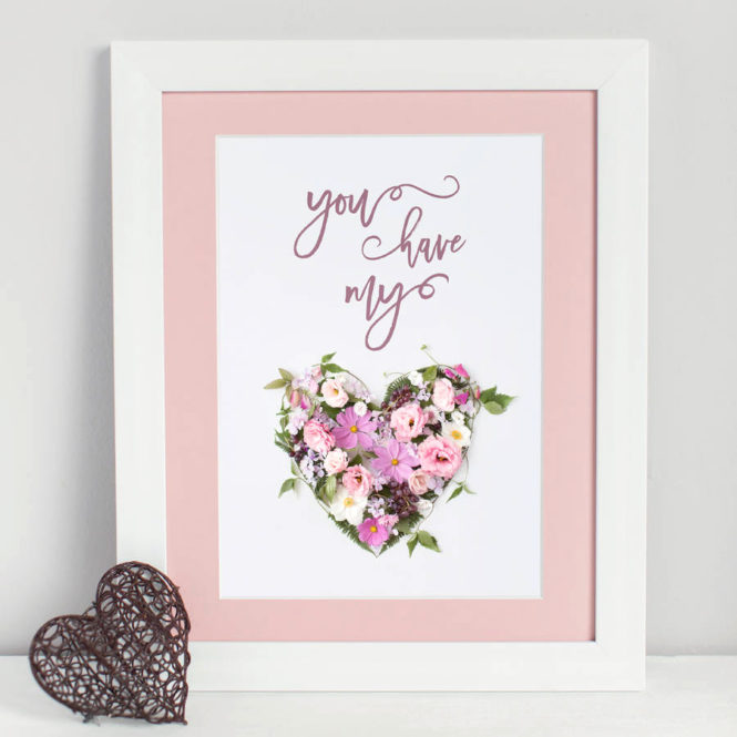 you have my heart love framed print wedding valentine birthday gift home decor