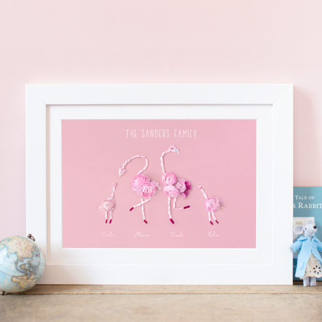 personalised family print family tree print flamingo print