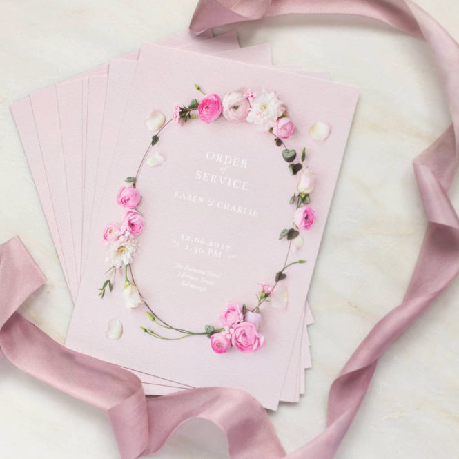 order of service floral pink textured wedding stationary invitations save the dates rsvps belly bands stickers