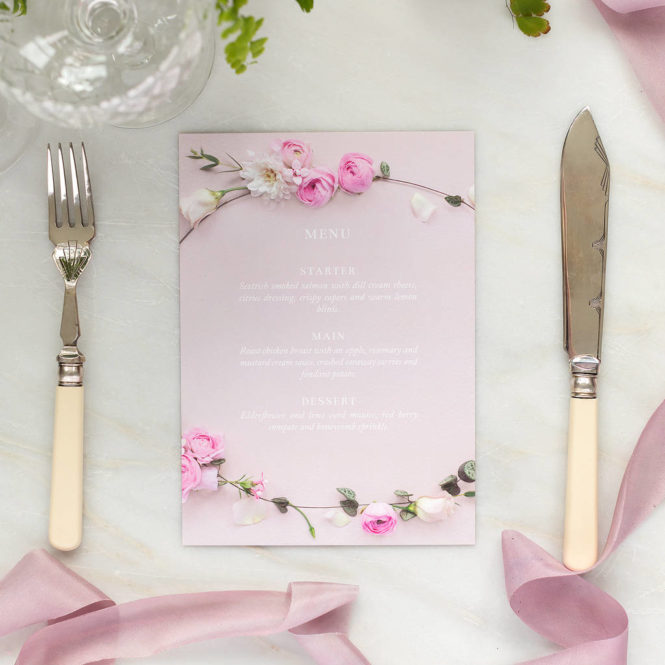 wedding breakfast menu floral pink textured wedding stationary invitations save the dates rsvps belly bands stickers