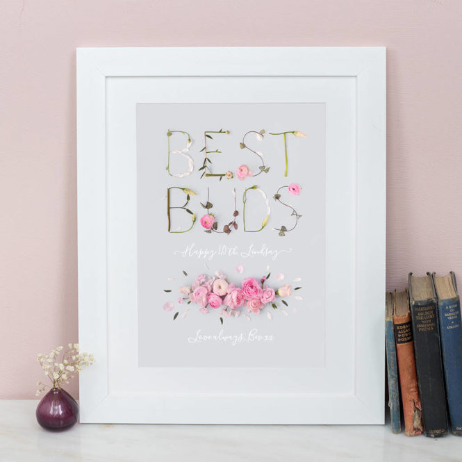 best friends print best buds bespoke personalised floral love bunny rabbit framed print wedding valentine birthday gift home decor
