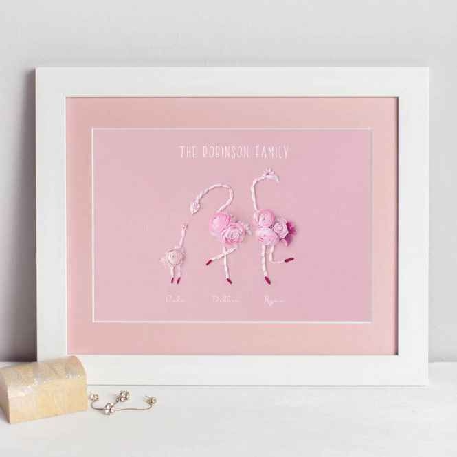flamingo family print bespoke personalised floral love bunny rabbit framed print wedding valentine birthday gift home decor