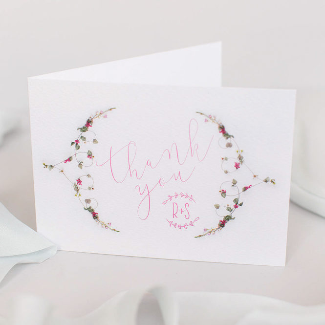 thank you cards floral pink textured wedding stationary invitations save the dates rsvps belly bands stickers
