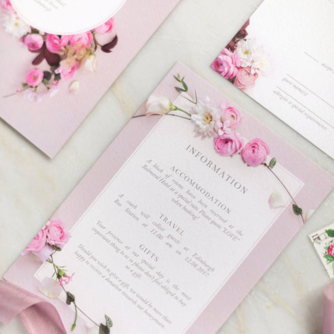 floral pink textured wedding stationary invitations save the dates rsvps belly bands stickers