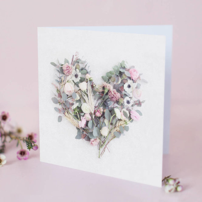 floral love heart greetings card wedding card engagement card birthday card valentines card