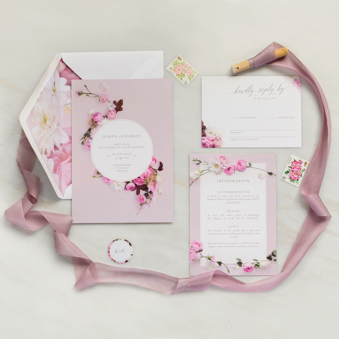 pink floral wedding stationary invitation save the date order of service rsvp soft petal ranunculus